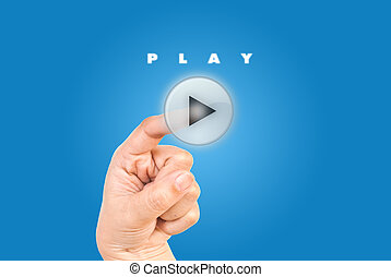 Hand pushing play button.