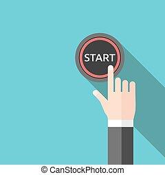 Hand pushing start button - Hand pushing red start button...