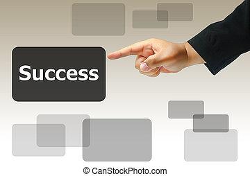 hand pushing success button