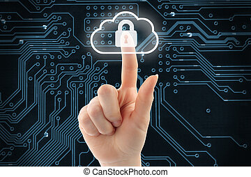 Hand pushing virtual cloud security button