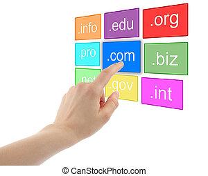 Hand pushing virtual domain name