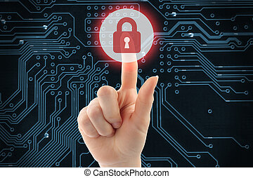 Hand pushing virtual security button