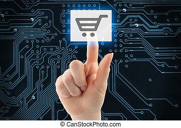 Hand pushing virtual shopping button