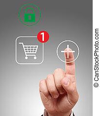 Hand pushing virtual symbol Add or Buy, on line shopping.