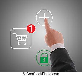 Hand pushing virtual symbol PLUS , on line shopping.
