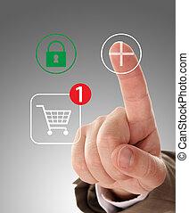 Hand pushing virtual symbol PLUS , online shopping.