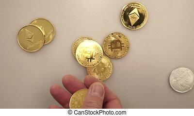 Hand put bitcoin to money, close up5 - Hand put bitcoin to...