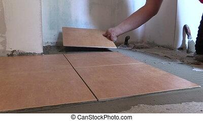 hand put tile floor