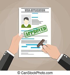 hand puts a stamp in the visa application form with a mark approved. travel document. vector illustration in flat design on brown background