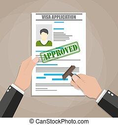 visa application form - hand puts a stamp in the visa ...