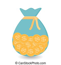 Hand Puts the bag of Gold Coins - Contribution to Future. Vector