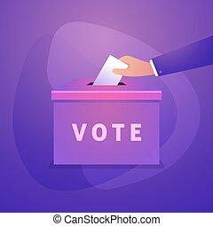 Hand puts vote bulletin into vote box. Election concept.