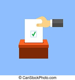 Hand puts voting paper in the ballot box.