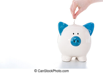 Hand putting coin into blue and white piggy bank