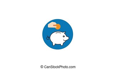 hand putting coin to piggy bank animation video. Money saving motion concept.