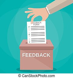Hand putting paper in feedback box