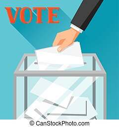 Hand putting voting paper in ballot box. Political elections illustration for banners, web sites, banners and flayers