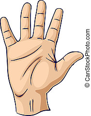 Hand raised in an open hand gesture - Hand showing open palm...