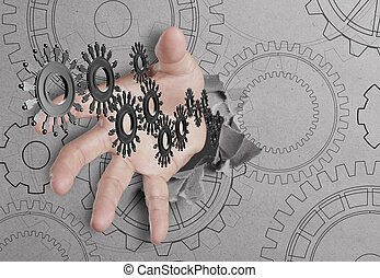 hand reach people cogs