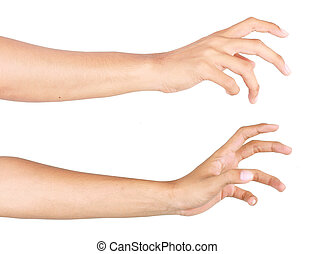 hand reach - gesture of hand trying to reach. isolated over...
