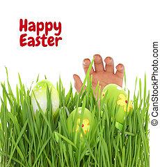 Hand reaching for Easter egg on green grass