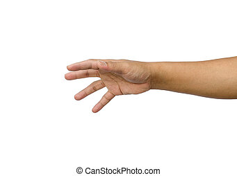 hand reaching for something isolated on a white background
