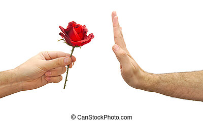 Hand refuses a flower or declines gift isolated on white background