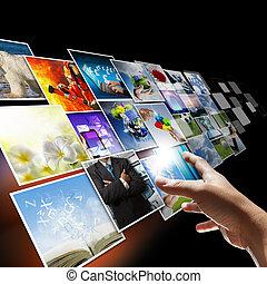 hand, reiken, beelden, streaming, als, internet, concept