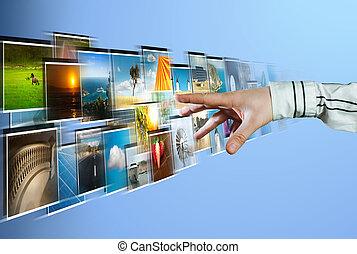 hand, reiken, beelden, streaming, van, het diep