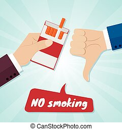 Hand rejecting proposal smoke from pack in hand. No smoking concept