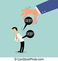 hand release iron ball debt from business man shoulder, illustration, vector