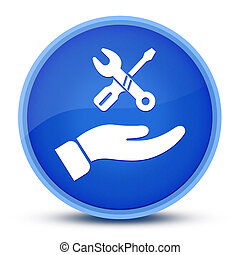 Hand repair icon isolated on special blue round button abstract
