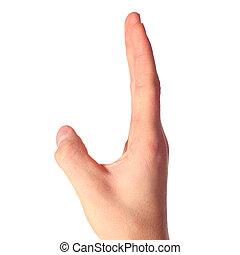 hand represent letter J from alphabet