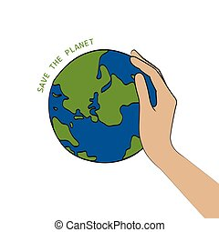 hand, retten, erde, halten, planet, begriff