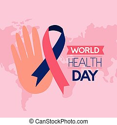 world health day - hand ribbon campaign world health day...