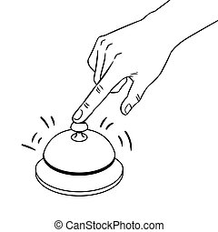 Hand ring bell coloring book vector illustration