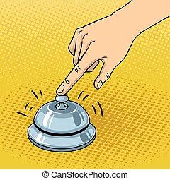 Hand ring bell pop art vector illustration