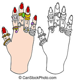 Hand Ring Holder - An image of a female hand with many rings...
