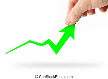 Hand rising green business graph