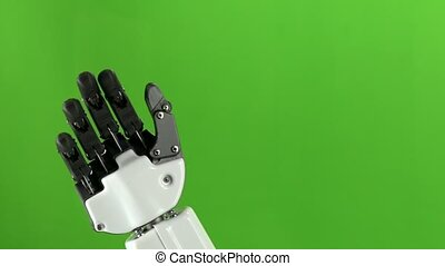 Hand robot says hello and goodbye . Green screen. Slow...