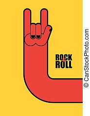 Hand rock and roll sign. Poster for  rock festival.
