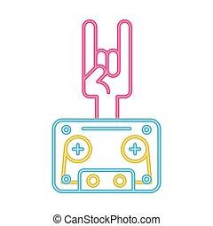 hand rock and roll symbol neon lights vector illustration ...