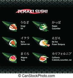 Temaki sushi with eel, salmon roe, tuna, cucumber and prawn