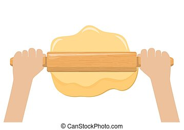 Hand rolling dough with a rolling pin
