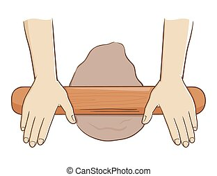 Two hand rolling dough with a wooden roller, vector illustration