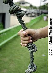 Hand rope.