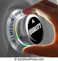 Hand rotating a button and selecting the level of quality. ...
