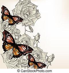 hand, rozen, vlinder, ontwerp, floral, getrokken