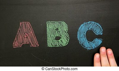 Hand rubbing off abc drawn on chalkboard in red green and...