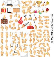 hand, sammlung, zeichen